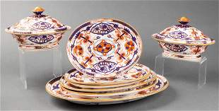 Chinese Imari Porcelain Dinner Service Dishes, 8