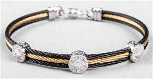 Alor 18K, Silver & Steel Diamond Bangle Bracelet