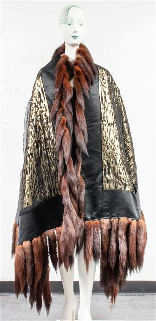 Black Satin Shawl With Fox Fur Trim