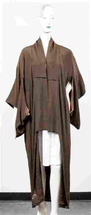 Japanese Green Silk Awase Kimono