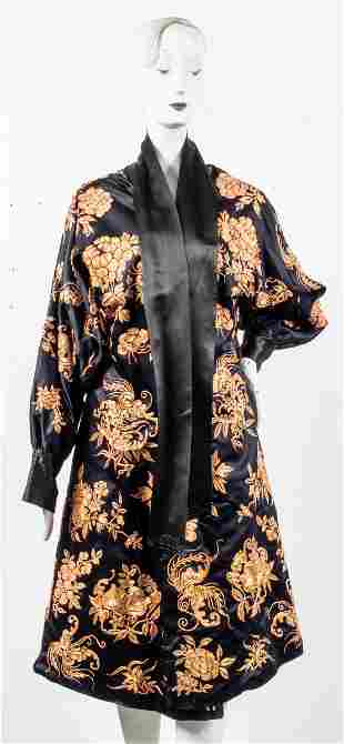 Japanese Embroidered Black Silk Robe