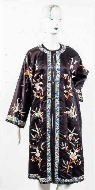 Japanese Floral Embroidered Black Silk Robe