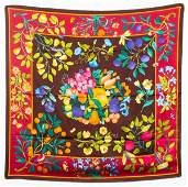 Gucci Silk Floral And Fruit Scarf