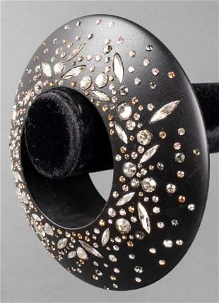 Monumental Wood & Rhinestone Bangle Bracelet