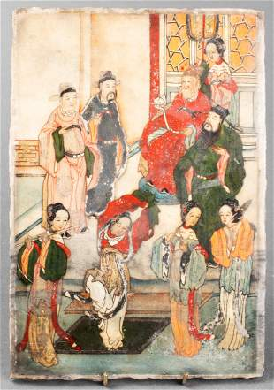 Chinese Paint Decorated Marble Tablet