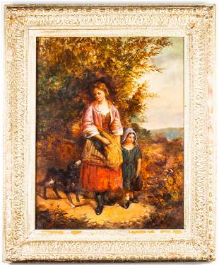 Illegibly Signed Continental School Oil, 1809
