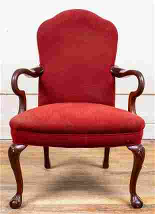 Rococo Revival Upholstered Oak Armchair