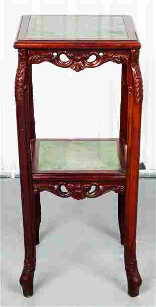 Chinese Carved Hardwood And Marble Two Tier Table