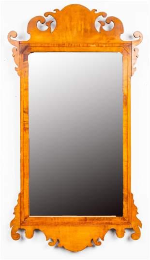 George III Style Fret Carved Walnut Mirror