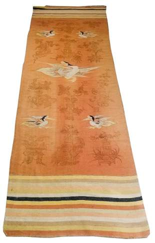 Chinese Ningxia Pictorial Temple Carpet 11' x 4'