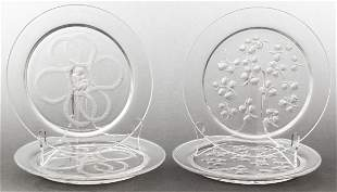 Lalique Frosted Art Glass Plates, Group of 4