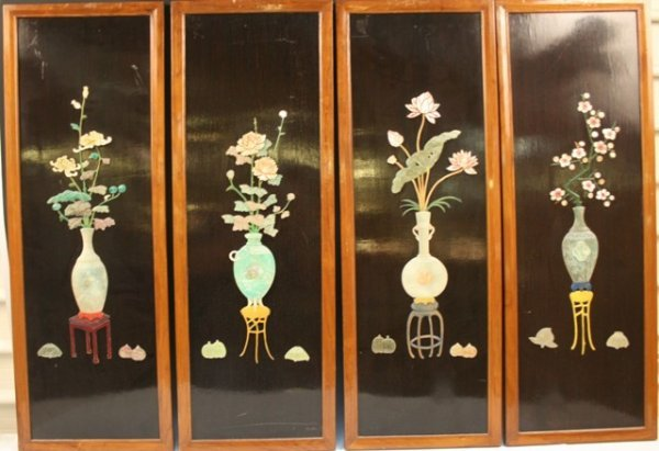 Set of 4 Chinese Wood Panels w/Stone Flowers