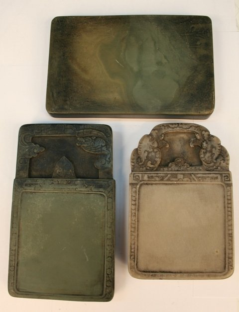 Set of 3 Various Chinese Scholar Inkstones 20th C.