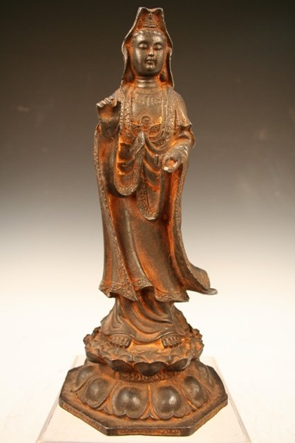 Chinese Cast-Iron Figure of Guan Yin 20th C