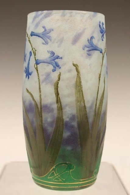 Daum Nancy Etched and Enameled Glass Vase