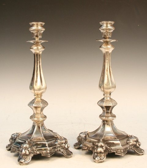 Pair of Austrian Sterling-Silver Candlesticks