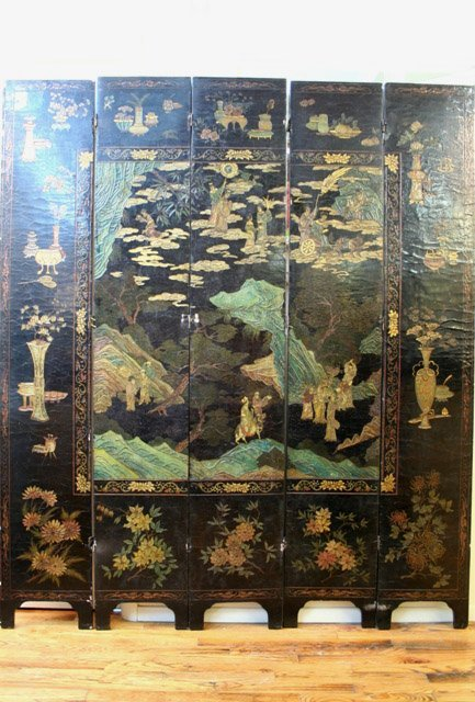 Qing Chinese Lacquer-Wood Screen 5-Panels