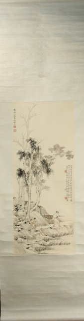 Chinese Scroll Painting of a Landscape w/Fishermen