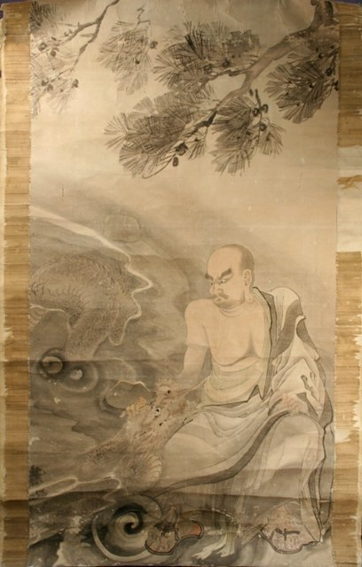 Large Chinese Painting of Luohan w/ Dragon 18th C.