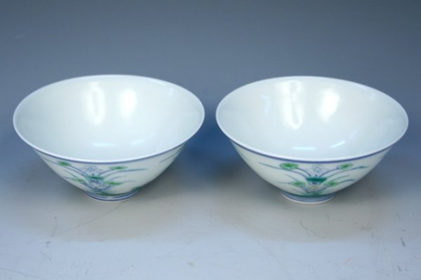 Pair of Ming Chinese Doucai Porcelain Cups 15th C