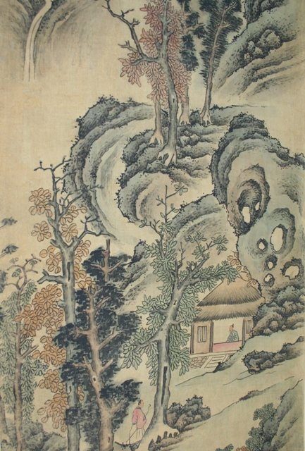 Large Qing Chinese Scroll Painting of a Landscape