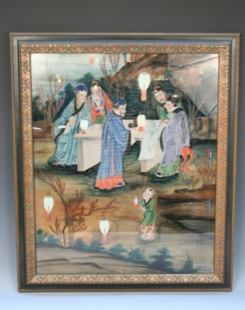 Chinese Reverse-Glass Painting w/Scholars