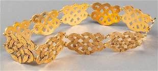 Chanel Gold-Tone Woven Lattice Motif Belt