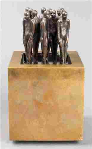 "Jim Sutter ""11 Friends"" Modern Bronze Sculpture"