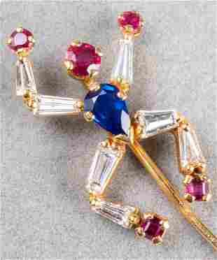 Asprey 18K Diamond Ruby & Sapphire Dancing Man Pin