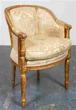 Italian Neoclassical Style Giltwood Bergère