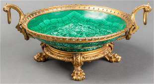 Russian Neoclassical Style Ormolu & Malachite Bowl