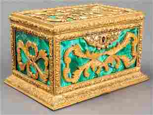 Russian Neoclassical Style Ormolu & Malachite Box