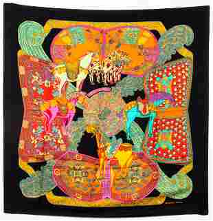 """Hermes """"Art des Steppes"""" Silk Scarf"""