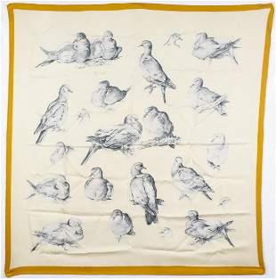 """Hermes """"Birds"""" Silk Scarf"""