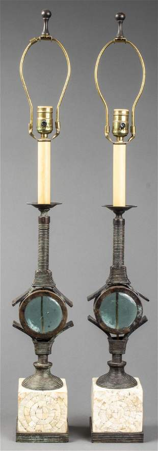 Maitland-Smith Modern Metal Table Lamps, Pair