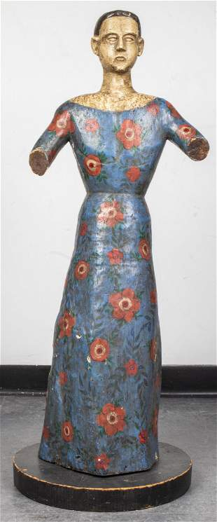 Spanish Colonial Polychrome Sculpture of Woman