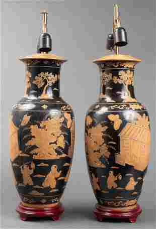 Chinese Black Glazed Ceramic Vase Lamps, Pair