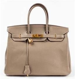 Grey Leather 35cm Handbag
