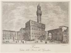 Italian Antique Etchings of Florence, Pair