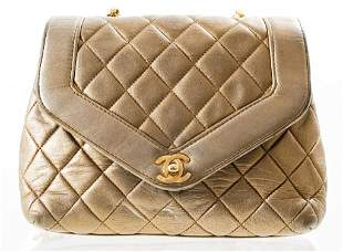 Chanel Quilted Metallic Leather Handbag