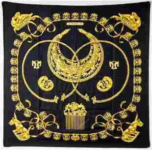 "Hermes ""Les Cavaliers D'Or"" Silk Scarf"