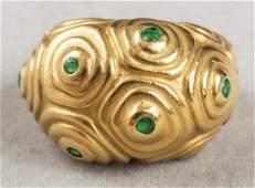 Angela Cummings 18K Yellow Gold Emerald Dome Ring