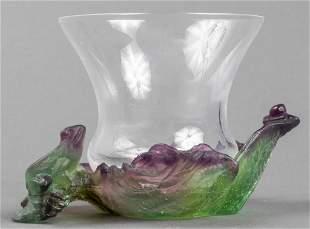 Daum Pate de Verre Frog Motif Art Glass Bowl