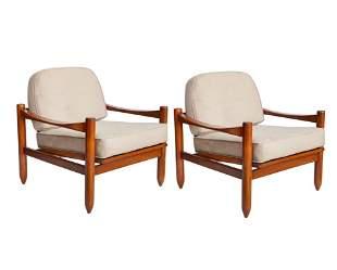 Michel Arnoult Mid-Century Jacaranda Arm Chairs Pr