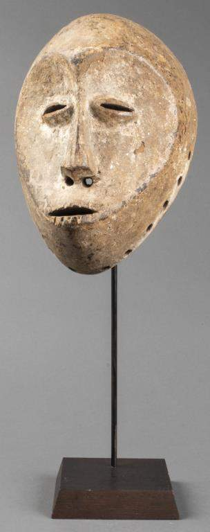African Lega Painted Carved Wood Mask, Congo