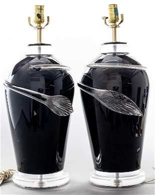 Italian Black & Clear Glass Lamps W Leaf Motif, Pr