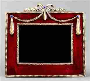 Jay Strongwater Enamel Ribbon & Swag Picture Frame