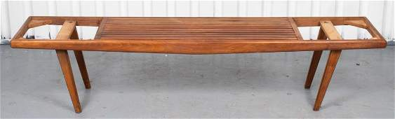 Danish Modern Style Teak And Glass Bench / Table