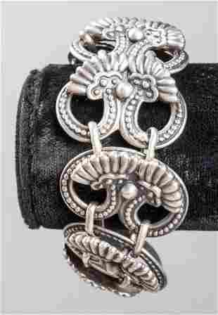 Margot De Taxco Silver Ornate Link Bracelet