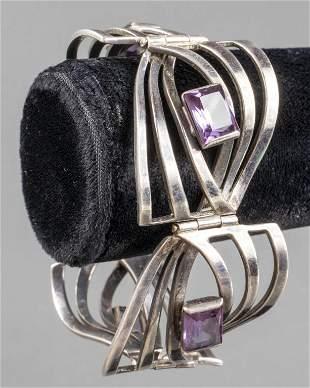 Antonio Pineda Taxco Silver Amethyst Link Bracelet